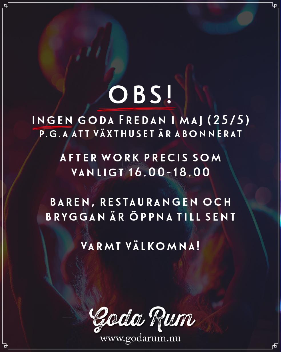 Kommande Evenemang | OBS! Ingen Goda Fredan 25/5